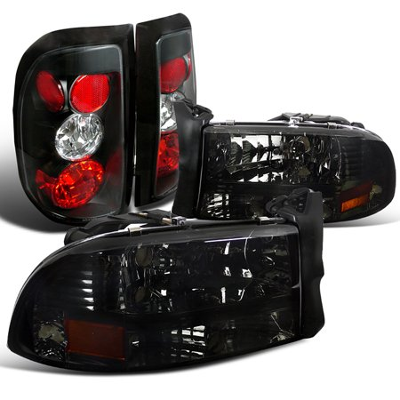 Spec-D Tuning For 1997-2004 Dodge Dakota 2 4Door Smoke Headlights Tinted + Black Rear Tail Lights (Left+Right) 1997 1998 1999 2000 2001 2002 2003 (Candlearia Dakota 12 Light)