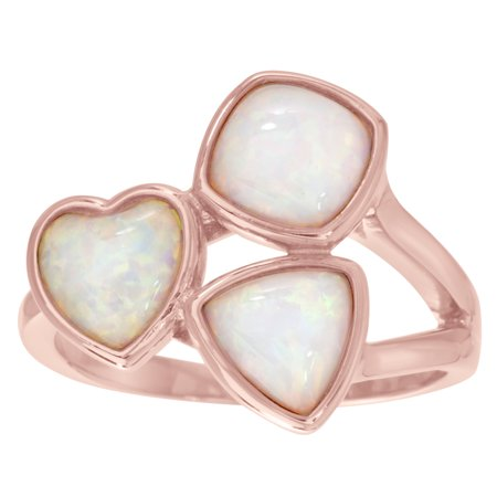 Lesa Michele Women's White Lab Created Opal Three Stone Heart, Square and Triangle Shaped Cluster Ring in Rose Gold Plated Sterling Silver