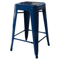 AmeriHome Loft Blue 24 Inch Metal Bar Stool 4 Piece by Metal Bar Stools