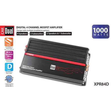 Dual Electronics XPR84D 2/1 High Performance Power MOSFET Class D Car Amplifier with 1,000-Watts of Dynamic Peak (Peak Dual Power Supply)