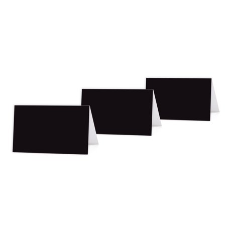 Black Color Blank Table Tent Printable Place Cards, 20-Pack (Black Place Cards)