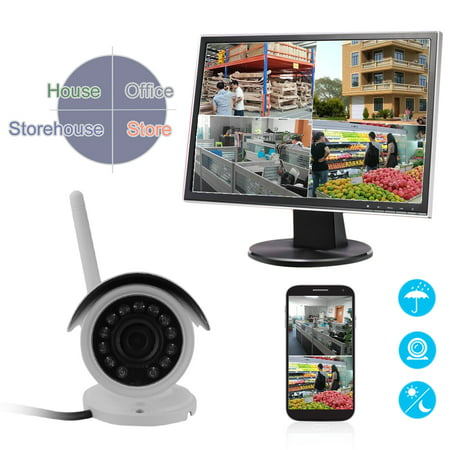 Wifi wireles s Security Camera Waterproof Outdoor/Indoor IP Camera Home Surveillance System (720P HD, Night Vision, Motion Detect, Remote View Via smart phon e/table t/PC,