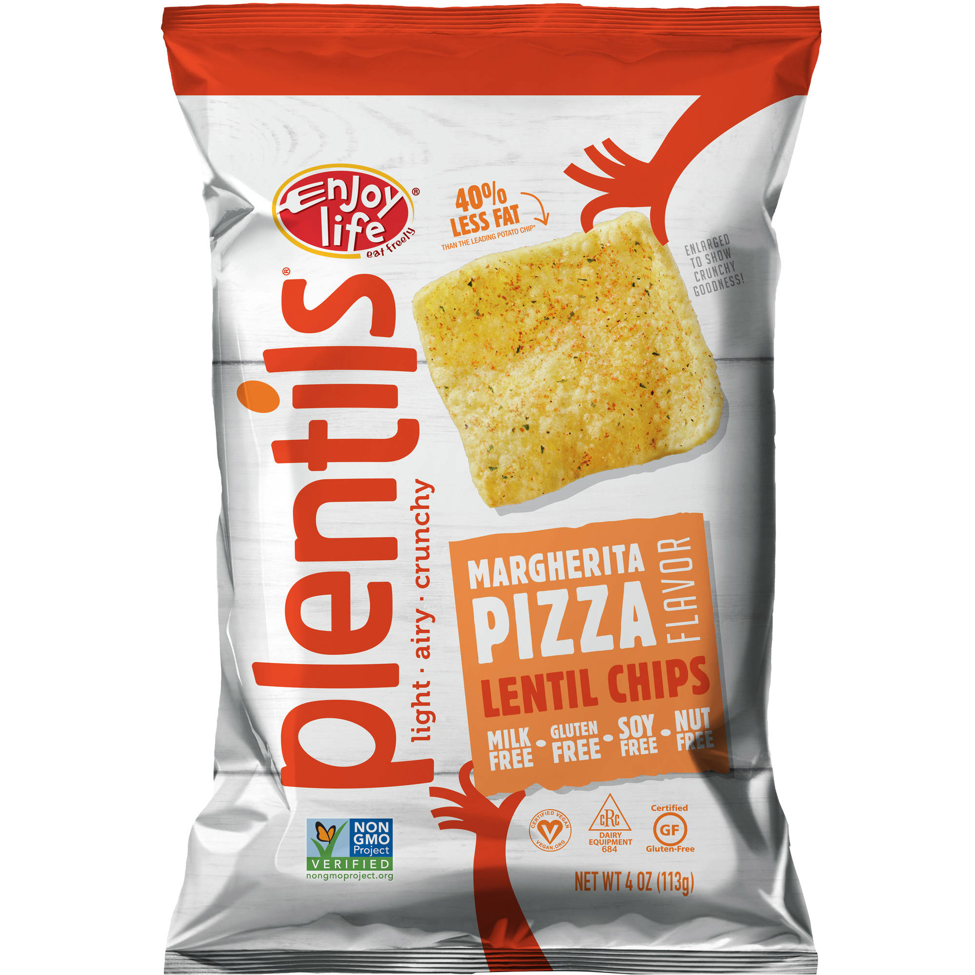 Enjoy Life Plentils Margherita Pizza Lentil Chips, 4 oz, (Pack of 12)