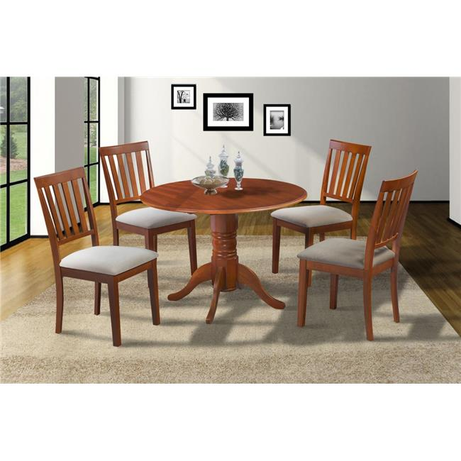M&D Furniture BUMO5-SBR-C Burlington 5 Piece small kitchen table set-kitchen table and 4 dining chairs in Saddle Brown finish