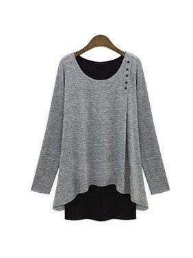 ee3fa8a557e Product Image PLUS SIZE Women Ladies Asymmetry Hem Long Sleeve Blouse Loose  Tunic T-Shirt Fake 2