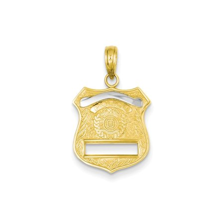 14k Yellow Gold Police Badge Pendant Charm Necklace Career Professional Polouse Gifts For Women For Her