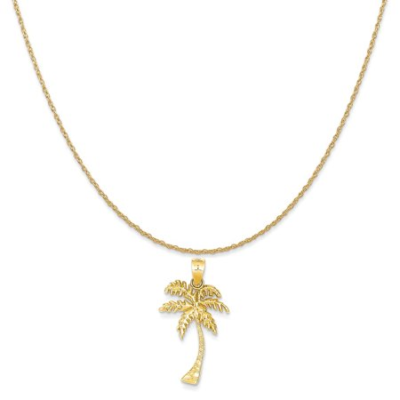 (14k Yellow Gold Mini Palm Tree Pendant on a 14K Yellow Gold Rope Chain Necklace, 20