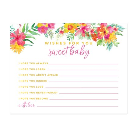 Tropical Floral Garden Party Baby Shower, Wishes for Baby Cards, 20-Pack, Games Activities and Decorations (Party Activities)