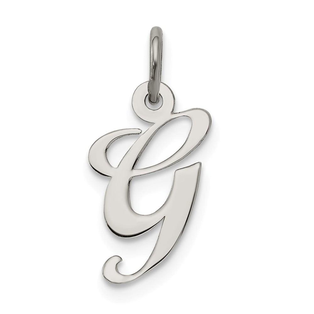 Sterling Silver Small Fancy Script Initial G Charm (0.6in long x 0.5in wide)