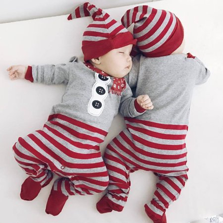 dda3d90df615 Iuhan Christmas Newborn Baby Girls Boys Rompers Jumpsuit+Hat 2Pcs Set nbsp  Outfit Clothes - Walmart.com