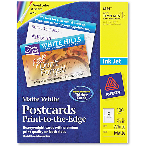 "Avery Inkjet 4"" x 6"" Postcards, White, Box of 100"
