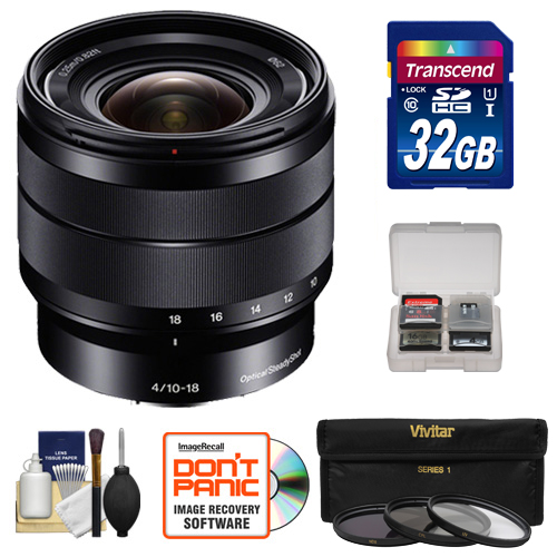 Sony Alpha E-Mount 10-18mm f/4.0 OSS Wide-angle Zoom Lens with 32GB Card + Case + 3 Filters Kit for A7, A7R, A7S Mark II, A5100, A6000, A6300 Cameras