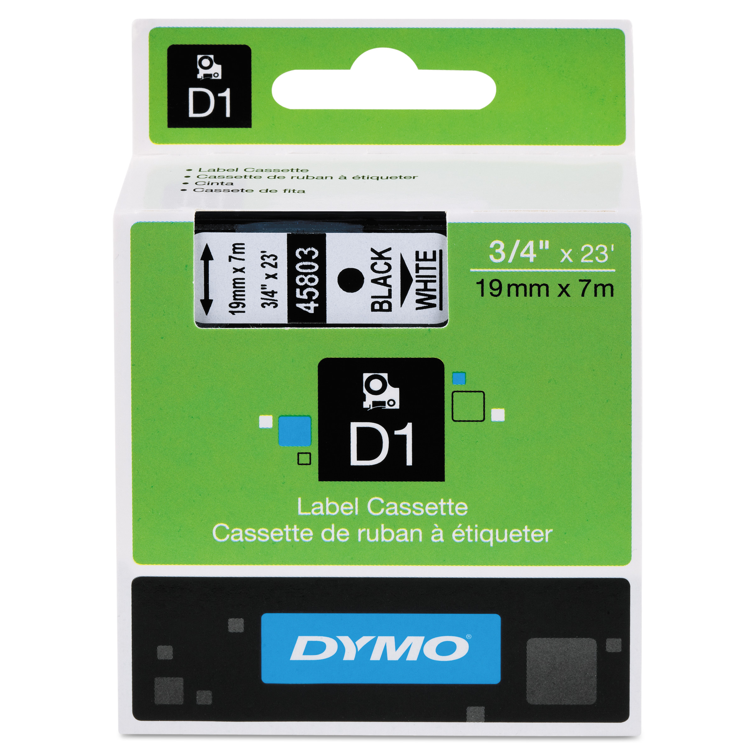 """DYMO D1 High-Performance Polyester Removable Label Tape, 3/4"""" x 23 ft, Black on White"""