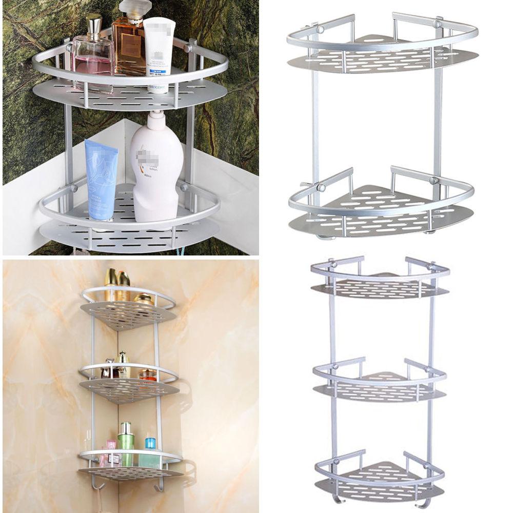 Triangular Wall Mounted Bathroom Caddy Shelves Rack Bath Corner Shower Storage Holder with... by