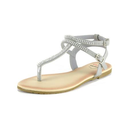 Alpine Swiss Women's Gladiator Sandals T-Strap Slingback Roman Rhinestone Flats for $<!---->