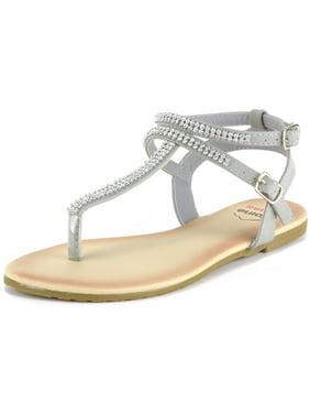 9063e543cc79 Product Image Alpine Swiss Women s Gladiator Sandals T-Strap Slingback  Roman Rhinestone Flats