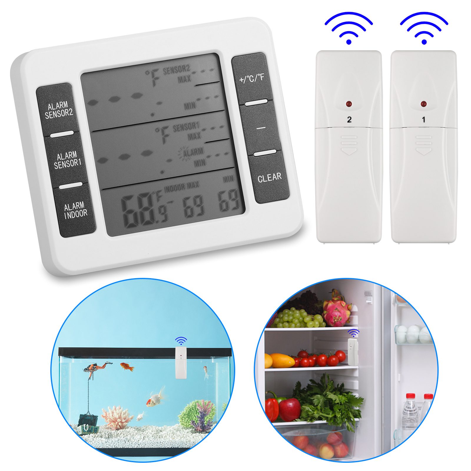 Thermo-Simple 2 Walk in Cooler Refrigeration Temperature Indicator /& Alarm Kit