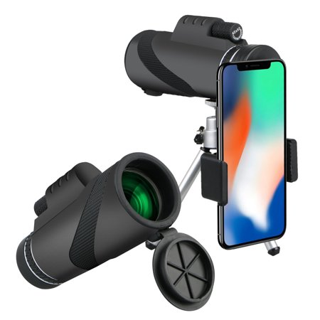 40x60 High Power Prism Monocular and Quick Smartphone Holder, Waterproof Fogproof Shockproof Scope, BAK4 Prism FMC for Bird Watching Hunting Camping Travelling Wildlife