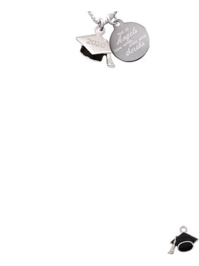 Silvertone 3-D Graduation Hat with 2020 Not All Angels Have Wings Some Wear Scrubs Engraved Necklace