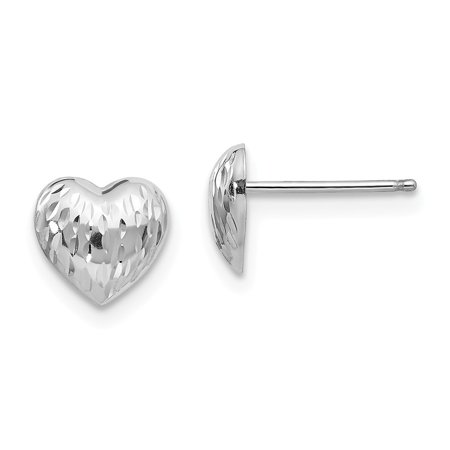 14k White Gold Sparkle-Cut Heart Earrings - .3 Grams - Measures 7x7mm