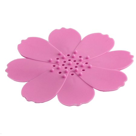 Bathroom Silicone Flower Design Shower Soap Holder Container Rack Tray Pink - image 4 of 4