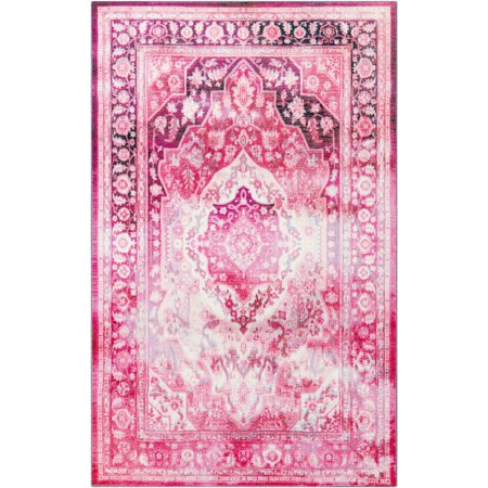 Mohawk  Prismatic Ketoa Traditional Distressed Floral Pink Area Rug (5' x 8') - Punk Mohawk