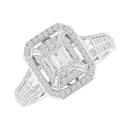 10 Karat White Gold 1/2 CTTW Diamond Emerald Shape Bridal - Vs2 Emerald Diamond Solitaire