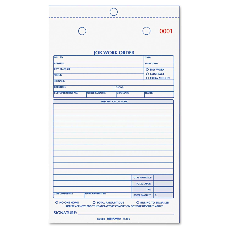 Rediform Job Work Order Book 4L456 - Walmart.com