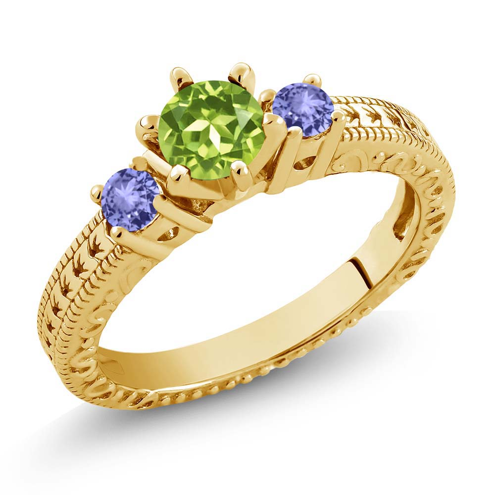 0.84 Ct Round Green Peridot Blue Tanzanite 18K Yellow Gold 3-Stone Ring by