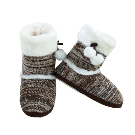 Yelete Stylish Faux Fur Holiday Boot Knit Women Multi Color Indoor Slippers Cable Knit Slipper Boots