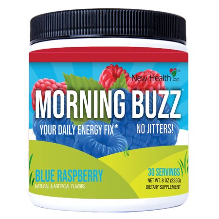 - Morning Buzz Blue Raspberry Sports Energy Drink by New Health, Pre Workout, Sports Nutrition Drink, Supports Lasting Energy, Endurance, Clarity, and Metabolism, 8 Ounce Powder Mix