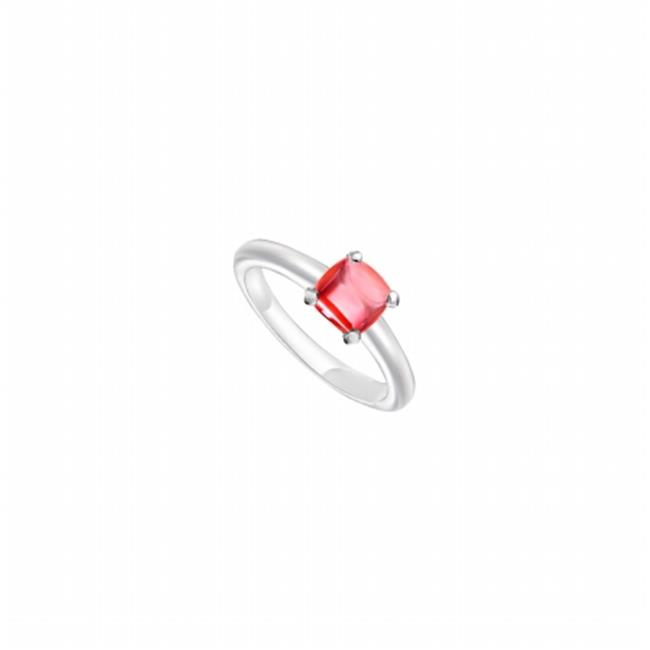 Fine Jewelry Vault UBLRCW14ZRR-101RS4 Red Chalcedony Ring 14K White Gold, 5.00 CT Size 4 by