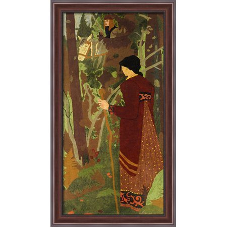 The Fairy and the Knight 22x40 Large Walnut Ornate Wood Framed Canvas Art by Paul Serusier