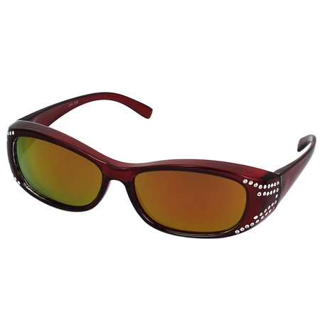92a63d85bb Lady Rhinestone Plastic Full Frame Colored Lens Burgundy Polarized Glasses  - Walmart.com