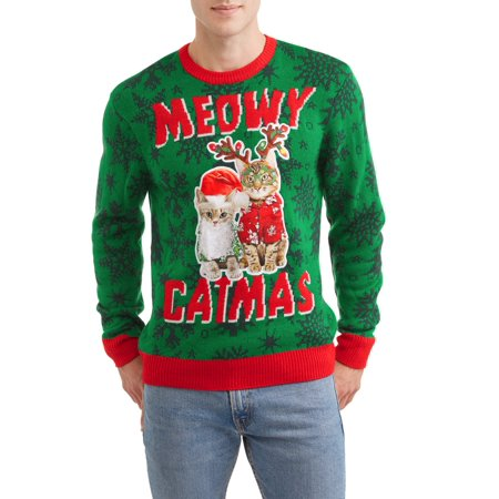 Holiday Meowy Mens Ugly Christmas Sweater Up To Size 2xl