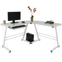 FCH White L-Shape Office Desk Glass PC Computer Workstation Durable Stalinite Splicing Computer Desk