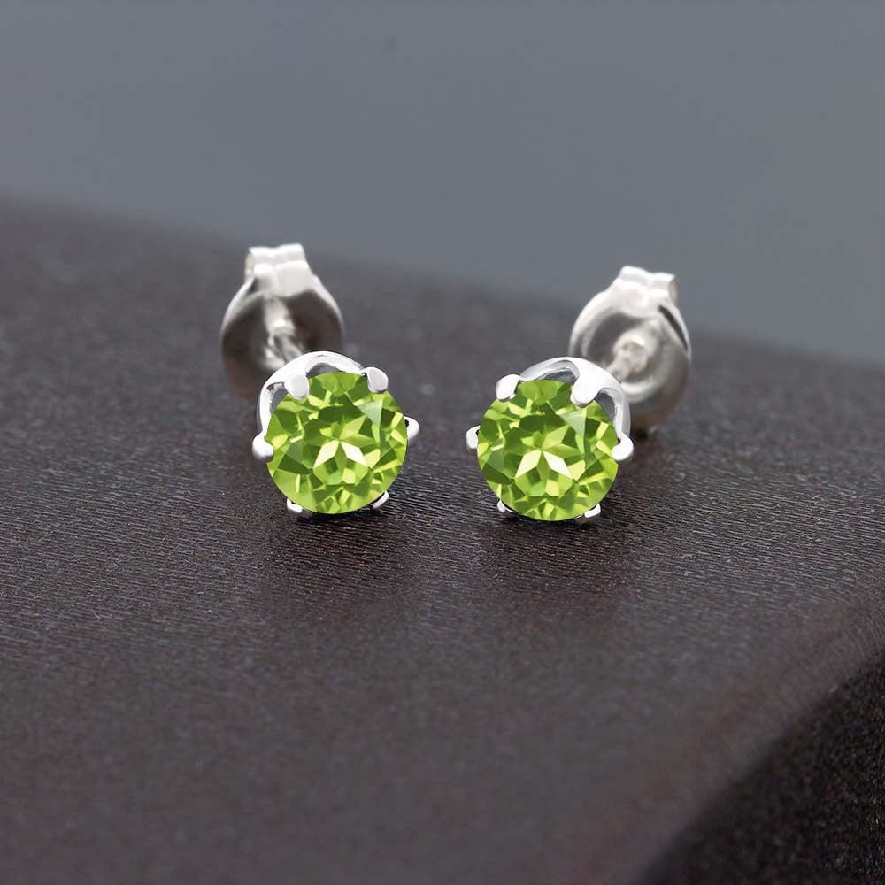 1.20 Ct Round Green Peridot Stud Earrings 5mm - image 2 de 3