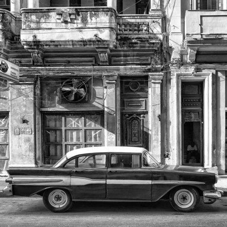 Cuba Fuerte Collection SQ BW - Old Car in Havana II Print Wall Art By Philippe Hugonnard