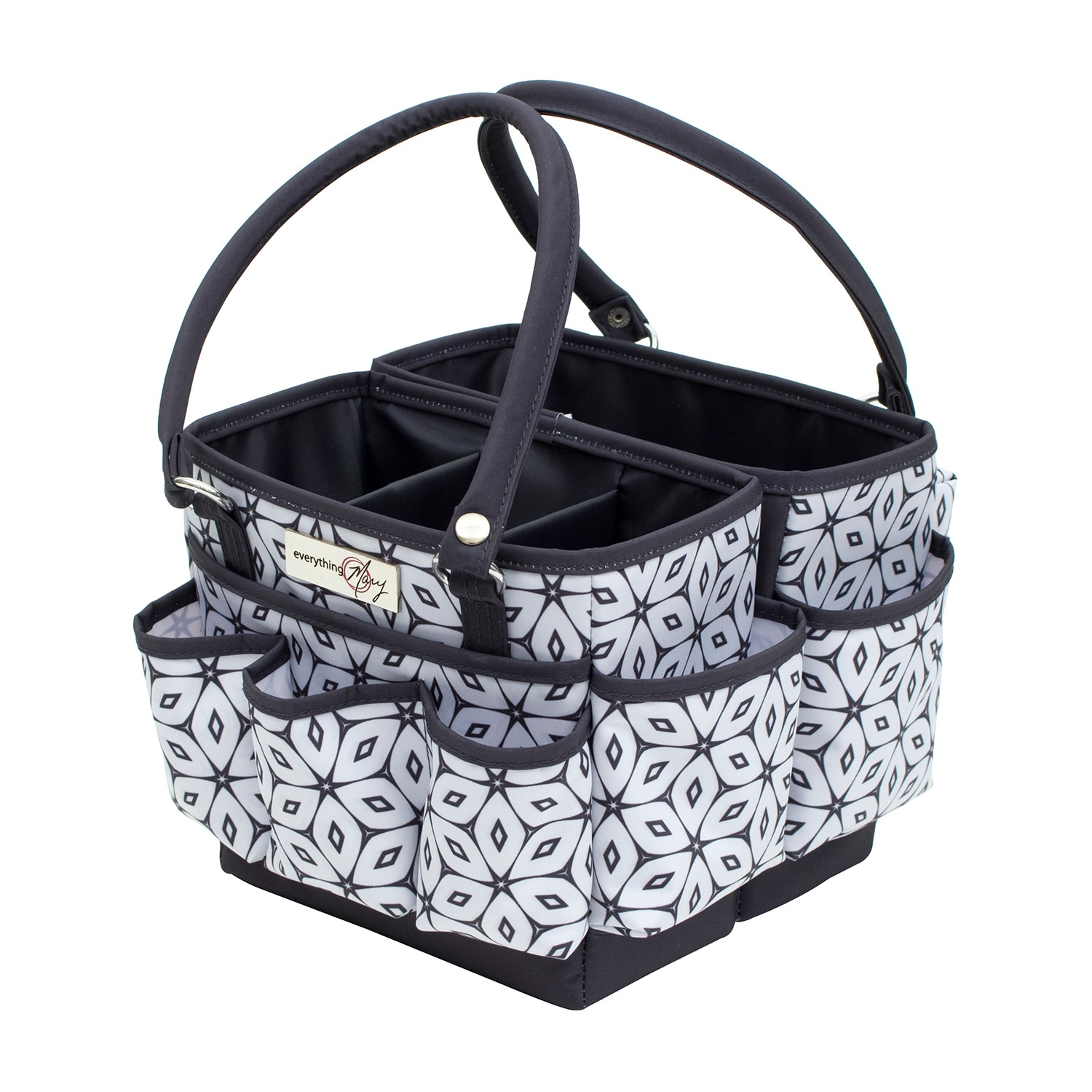 Everything Mary Grey & White Fold-Open Square Organizer