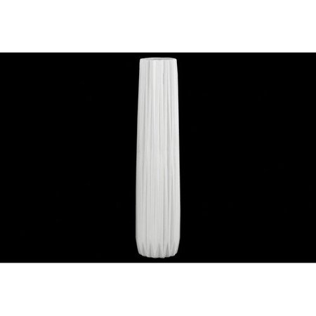 Urban Trends Collection UTC21436: Ceramic Elongated Round Vase with Round Lip and Ribbed Design Body MD Matte Finish Black ()