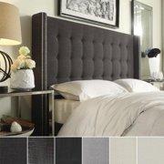 INSPIRE Q Marion Nailhead Wingback Tufted Full-sized Headboard Dark Grey Linen