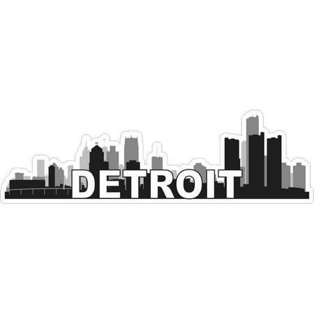 10in x 3in Detroit Skyline Sticker Vinyl Car Window Travel Bumper Stickers