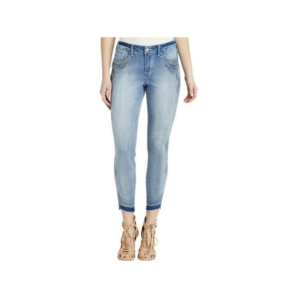 Jessica Simpson Womens Kiss Me Denim Mid-Rise Skinny Jeans