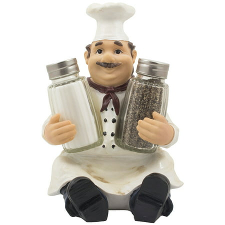 Decorative Sitting French Chef Henri Glass Salt and Pepper Shaker Set Figurine Display Stand Holder for Kitchen Table Decor by Home 'n
