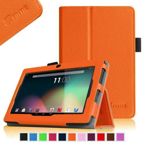 "Fintie Chromo Inc 7"" / NeuTab N7 Pro / NeuTab N7S Pro 7 Tablet Folio Case - Vegan Leather Stand Cover, Orange"