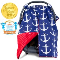 Kids N' Such 2 in 1 Car Seat Canopy Cover with Peekaboo Opening - Large Carseat Cover for Infant Carseats - Best for Baby Girls and Boys - Use as a Nursing Cover - Nautical with Red Dot Minky
