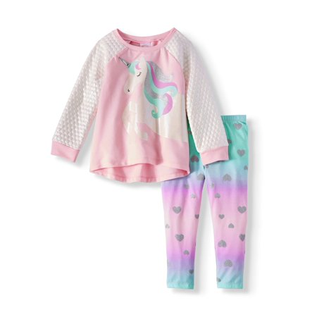 Long Sleeve Raglan 3D Graphic Tunic & Leggings, 2-Piece Outfit Set (Toddler Girls) - Cute Girl St Patricks Day Outfits