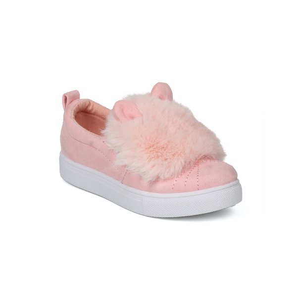 New Girl Betani Miss-10G Faux Suede Fuzz Pom Pom Animal Slip On Sneaker