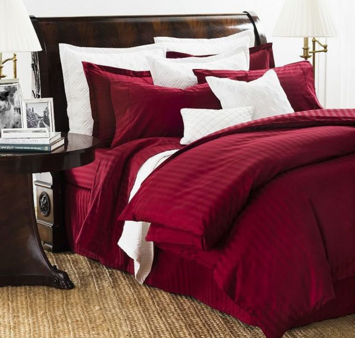 Chaps Home Damask Stripe Full Queen Red Comforter Set with Shams, Cotton
