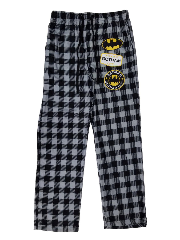 Mens Plaid Flannel Batman Gotham City Sleep Lounge Pants Pajama Bottom